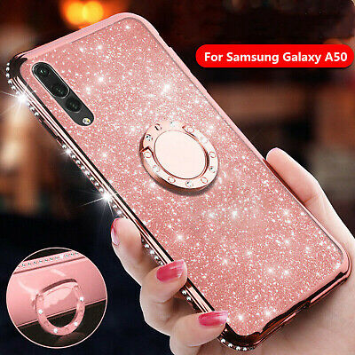 For Samsung Galaxy A70 A50 A30 10 Bling Diamond Ring Holder Stand TPU Case Cover