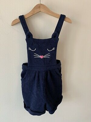 Girls George Age 3-4 Blue Cat Dungarees Outfit