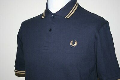 d165dc9bd Fred Perry Reissues Navy Blue/1964 Gold Twin Tipped M12 Polo Shirt 40