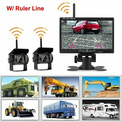 "2x Wireless IR Rear View Back Up Camera System+7"" Monitor for Truck Car 12V-24V"