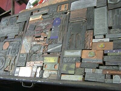 VTG Lot of over 100 Letterpress Printer Block Wood Copper Stamp  Richmond Va ++