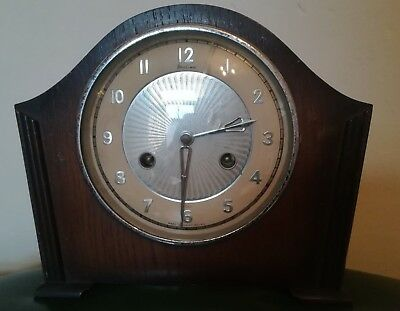 Vintage Bentima Mantle 8 Day Clock, No  Key Made In Great Britain