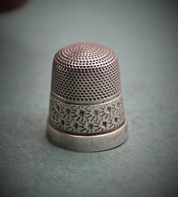 Victorian sterling silver Thimble 14 Beehive and Flowers as found N/R