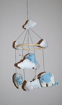 SALE Handmade baby mobile with elephants, clouds blue floral