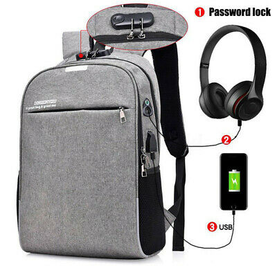 Anti-theft Laptop Notebook Backpack with USB Charging Port Travel School Bag !