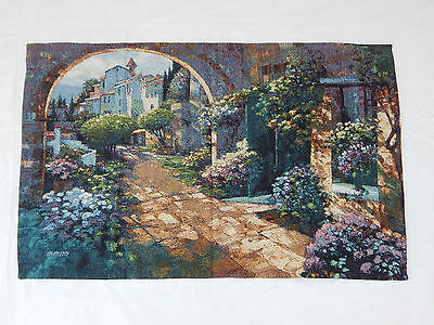Vintage French Beautiful Scene Tapestry 137x86cm Fabric/textiles t1213