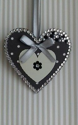 Dark Grey, Black & Silver Wooden Hanging Heart Decoration Ornament Any Colours