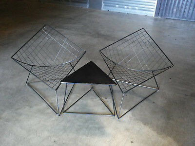 rare set Poltrone tavolino vintage NIELS GAMMELGAARD wire armchairs side table