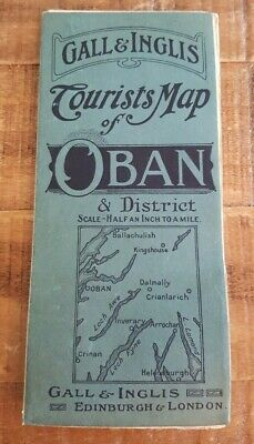 "Early 20th Cent. POCKET ROAD MAP - ""OBAN & DISTRICT"" (SCOTLAND) GALL & INGLIS"