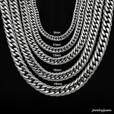 Mens Miami Cuban Link Chain HEAVY 18K Silver Plated Stainless Steel Choker