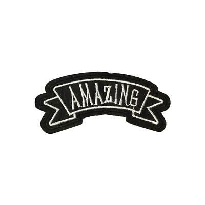 Amazing Banner Text (Iron On) Embroidery Applique Patch Sew Iron Badge