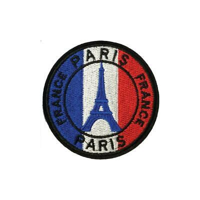 Eiffel Tower French Flag France Paris (Iron On) Embroidery Applique Patch Sew