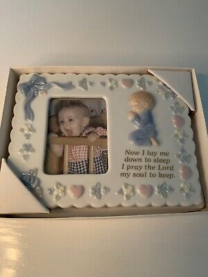 NIB White ceramic Baby Picture Frame Single Photo Frames Lords Prayer Hearts Boy
