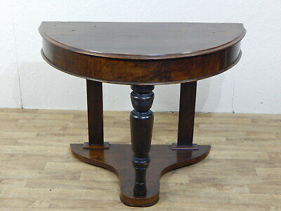 Antique walnut demi lune hall / side table with turned front leg & lower shelf