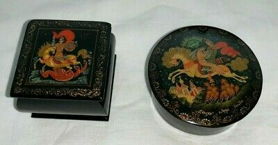 (2) MARKED Russian Black & Red Lacquered Trinket Boxes w/ Lids (Horse Scenes)