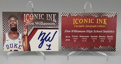 2018-19 Zion Williamson Duke Blue Devils Rookie Aceo Iconic Ink Basketball Card