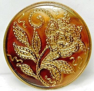 Antique Button Marbled Amber Glass in Brass with Gold Chain PEONY FLOWER 58A2