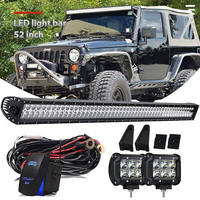 "52"" inch Led Light Bar+4"" Pods+Brackets+Wiring Kit For Jeep Wrangler JK 07-18"