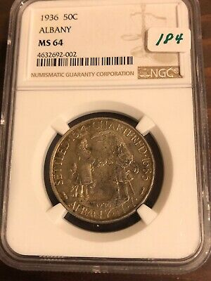 1936 Albany 50C Silver Commemorative Half Dollar Coin NGC MS 64