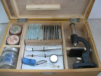 vintage 1930s MICROKIT JUNIOR MICROSCOPE set in wooden BOX glass slides, covers