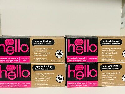 8x hello activated charcoal natural dragon fruit fluoride free toothpaste 12/20
