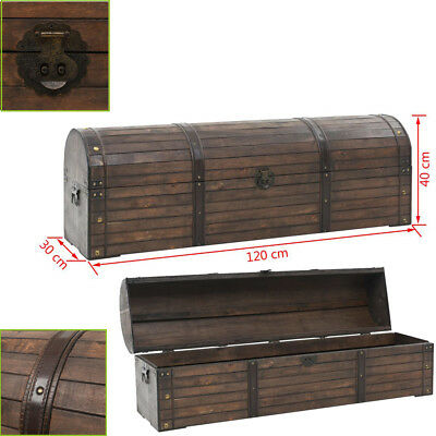 Vintage Wooden Treasure Chest  Solid Wood Retro Trunks Storage Chest Box Brown