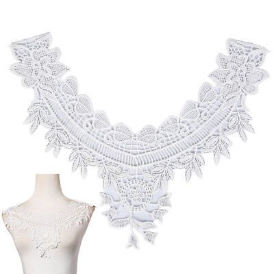 diy embroidered white lace neckline neck collar trim clothes sewing applique B$