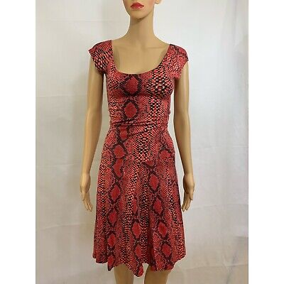 5737acc784 Betsey Johnson Women's Red Reptile Print Short Sleeve A Line Dress Size XS