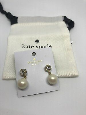 Authentic Kate Spade New York Earrings Lady Marmalade Pearl Cream with Dust Bag