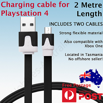 2 x 2M USB Charger Cable for PLAYSTATION PS4 Dualshock 4 Wireless Controller
