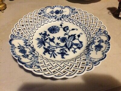 Meissen  19th Century  Porcelain Blue Onion Reticulated Shallow Bowl or Plate #1