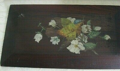 vintage 1930s handpainted BIRD on branch on wooden - timber Board 48 x 26.5cm