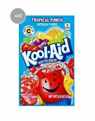 903265 15 x 4.5g PACKETS KOOL AID UNSWEETENED DRINK MIX TROPICAL PUNCH FLAVOUR