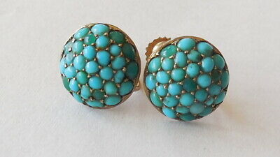 Wonderful Antique 1890, 9ct gold turquoise/sil claws earrings, screw back, 2.52g