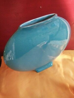 VTG Rare Ceramic BALDELLI ITALY  LENS OVAL SHAPED  TURQUOISE BASE  POTTERY MCM