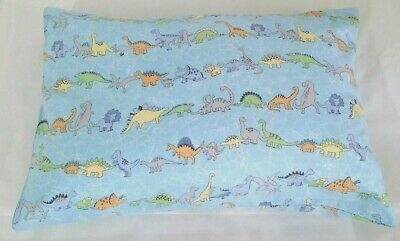 "Snuggly & Warm -  ""Dinosaurs"" light blue toddler pillowcase - Flannelette"