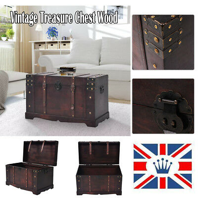 Antique Wooden Treasure Storage Chest Trunk Furniture Wood Home Table UK
