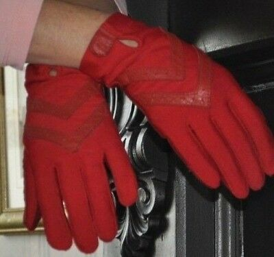"""Authentic 1960's Stretch Fabric Red & LeatherTrim """"Aris Isotoner"""" Driving Gloves"""