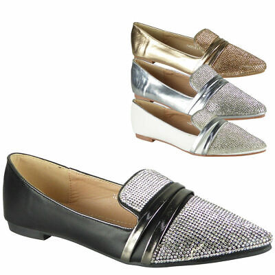Ladies Diamante Loafers Womens Pointed Flat Ballerina Ballet Pumps Shoes Sizes