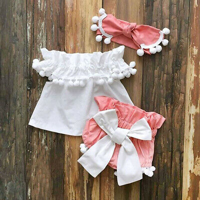 US Infant Toddler Baby Girl Off Shoulder Top Shorts Headband Outfits Clothes Set
