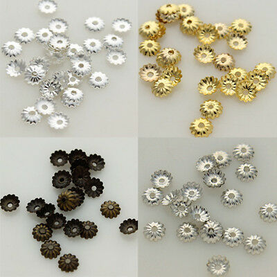 1000pcs/lot Silver Gold Plated Over Alloy 5mm Curved Bead Caps Flower Findings