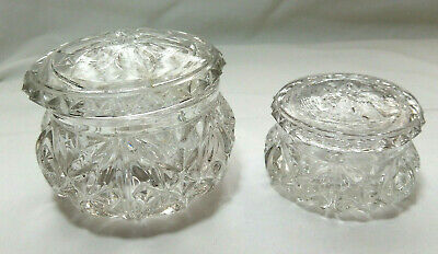 2 x Vintage / Antique Sowerby Glass Lidded Trinket Dishes / Pots Rd no 752847
