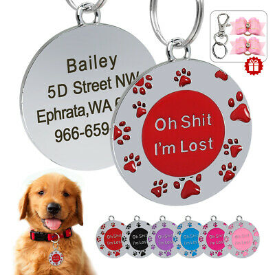 Paw Print Personalised Puppy Cat Dog ID Name Tags Free Hair Bows Stainless Steel