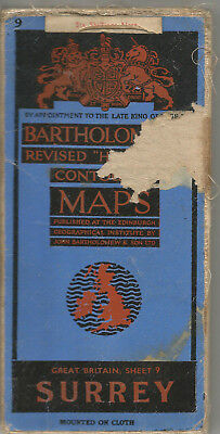 Surrey Antique Map Bartholomew Sheet 9 Cloth Half Inch  Pub 1947