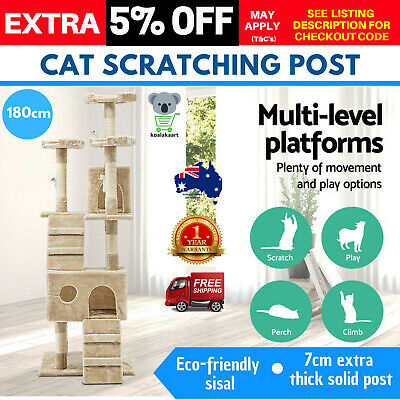 180cm iPet Cat Scratching Post Tree Gym Toy Condo Scratcher House  Pole Large