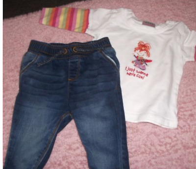 Next & Tu Baby Girls Jeans & Top Outfit Age 3-6 Months