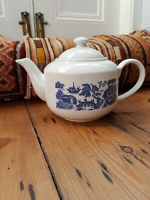 Staffordshire Old Willow blue & white large china teapot 1 1/2 pints