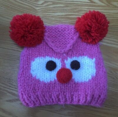 Beautiful Girls Next Pink Owl , Red Bobble Hat Age 7 - 10 Years