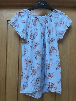 Girls Next Blue With Orange Floral Pattern Top Age 11 Years