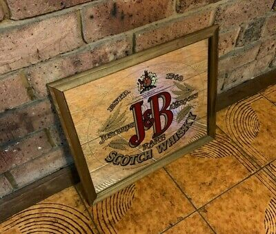 Vintage J & B Rare Scotch Whisky Alcohol Wooden Frame Bar Sign Mirror